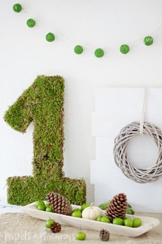 This easy Moss Covered Number Tutorial will teach you how to create a beautiful moss number or moss monogram for any birthday party. A simple DIY project...