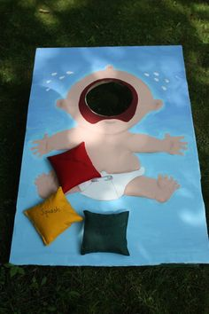 Monkey Shower A fun way to customize corn hole for a Baby-Q baby shower!A fun way to customize corn hole for a Baby-Q baby shower! Juegos Baby Shower Niño, Idee Baby Shower, Fiesta Baby Shower, Shower Bebe, Girl Shower, Baby Shower Parties, Shower Party, Baby Shower Games Coed, Baby Shower Yellow