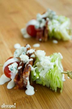 "cupcakes and crinoline Wedge Salad on a Stick | ""This quick and easy appetizer is and a great way to impress your guests! Perfect for picnics, too."" http://s.bhome.us/5eV5BgXd via bHome https://bhome.us"