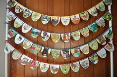 storybook bunting When I saw this banner from old Golden Books, I was thrilled. I knew that I had to Paper Bunting, Bunting Garland, Garlands, Garland Ideas, Bunting Ideas, Felt Bunting, Book Crafts, Paper Crafts, Diy Crafts