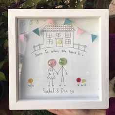 Family new home house illustration personalised frame gift art cran handmade bunting drawing pretty button people Personalised Gifts Handmade, Personalised Frames, Box Frame Art, Box Frames, Art And Craft Design, Design Crafts, Button Family Picture, Button Frames, Scrabble Frame