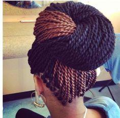 Senegalese twist two toned bun Box Braids Hairstyles, Twist Hairstyles, Summer Hairstyles, Woman Hairstyles, Updo Hairstyle, Protective Hairstyles, Hairdos, Senegalese Braids, Cornrow