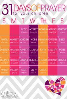 FREE 31 Days Of Prayer For Your Children Calendars! - Saving Dollars & Sense