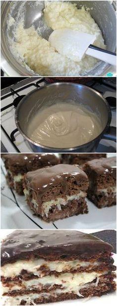 BOLO PRESTÍGIO…APRENDA E VEJA COMO É FÁCIL!! VEJA AQUI>>>Bata no liquidificador, os ovos, o óleo e o leite por 3 minutos e reserve Em um recipiente, misture o açúcar, o trigo, o fermento, o chocolate e o coco ralado a gosto #receita#bolo#torta#doce#sobremesa#aniversario#pudim#mousse#pave#Cheesecake#chocolate#confeitaria I Love Food, Good Food, Cake Borders, Pastry Cake, How Sweet Eats, Dessert Recipes, Desserts, Ice Cream Recipes, Yummy Cakes