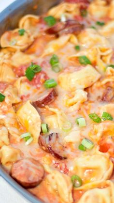 One Pot Sausage and Tortellini in a Cheesy  Tomato Cream Sauce ~ quick, easy and delicious