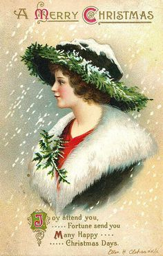Vintage Christmas image--lady in green