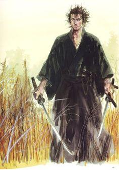 A Miyamoto Mushashi se le atribuye la técnica -única- de las dos espadas.