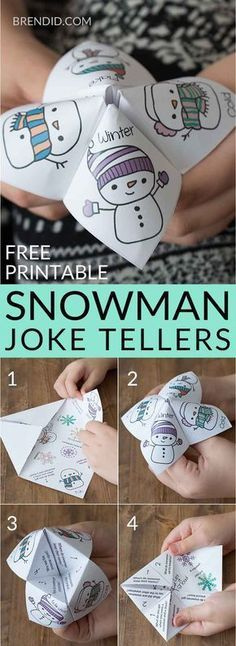 Snowman joke tellers snowman jokes school party winter party free printable holiday jokes for kids Christmas holiday jokes for kids cootie catcher fortune teller. Christmas Crafts For Kids, Xmas Crafts, Christmas Humor, Party Crafts, Diy Party, Kids Winter Crafts, Christmas Printables, Christmas Games With Gifts, Snowman Cards For Kids