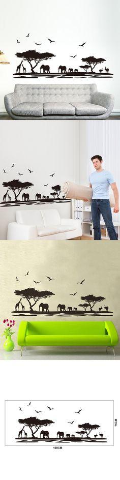 African Animals Tree Removable Art Wall Sticker Home Living Room Mural DIY Plsei