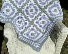 Pink and Grey Granny Square Baby Blanket Crochet by ThelmasGifts