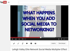 Lehigh   Valley Elite Network Social Media Training - Topic:   How to   get 20,000 views in 13 days on your facebook video by strategically   sharing.     Due to Winter   Storm Jonas