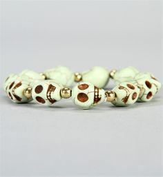 Mint Cracked Skull Bracelet