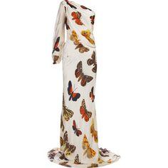 Alexander McQueen | Asymmetrical butterfly print gown | NET-A-PORTER.COM