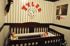 New York Yankee Baby nursery.  I finished this wall of the nursery.  I think it turned out pretty good for such a small space.