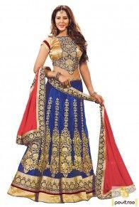 Indian Blue Gajari Net Wedding Lehenga Choli Online Collection