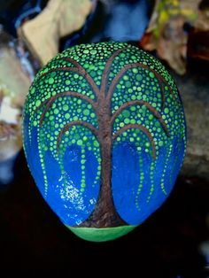Weeping WillowTree Stone / Painted River Rock / Painted Tree Stones Series / Dot Art Rock /Leslie Peery / Mitsel8