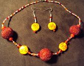 Red and Yellow Bold Etsy necklace