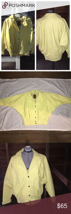 Vintage yellow leather bomber jacket This is in amazing vintage condition! Made in Argentina 1980's era, with crop waist wide band. Has loose batwing style sleeves a must have for any hipster retro street chic wardrobe! I couldn't find a size on it but I would say it fits like a large made by LeVac Jackets & Coats