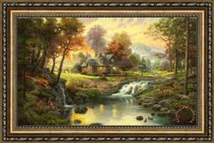 afw wall art of mountains for sale | Thomas Kinkade Mountain Retreat Framed Print for sale ...