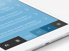Tablet/Mobile interface design using clean icons and blue tones