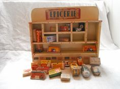French Vintage Toy Shop, Old Minature boxes, Christmas Toy Epicerie on Etsy, $145.00