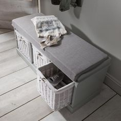 Fyfield Hallway Shoe Storage Bench with cushion - Laura James Shoe Storage Bench With Cushion, Hallway Shoe Storage Bench, Grey Storage Bench, Hallway Bench, Entryway Storage, Storage Baskets, Storage Spaces, Grey Cushion Covers, Old Cabinets