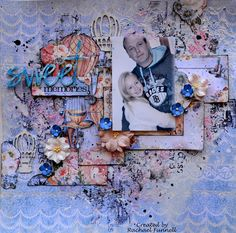 A window to my scrapping world: The Scrapbook Store - Blue Fern Studio 2 layouts + Video Tutorial Scrapbooking Layouts, Scrapbook Pages, Craft Online, Sweet Memories, Shabby, Sketches, Doll, Fern, Prima Marketing