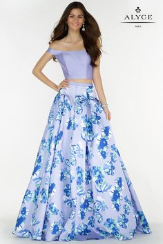 Prom Dresses Evening Dresses by ALYCE piece with a floral mikado skirt. Off the shoulder halter top and keyhole back. Floral Prom Dresses, Elegant Prom Dresses, Formal Evening Dresses, Homecoming Dresses, Evening Gowns, Paris Dresses, Blue Dresses, Beautiful Dresses, Affordable Bridesmaid Dresses