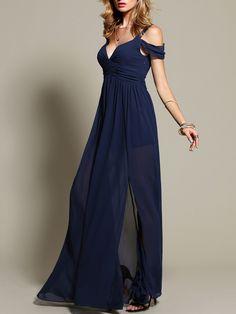 Robe longue épaule dénudé -bleu marine-French SheIn(Sheinside)