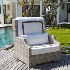 The deep-seated and high-backed design of the DANN Foley Hancock Wing Chair offers outstanding comfort for sunny-day outdoor seating. A chair and a. Outdoor Seating, Outdoor Chairs, Outdoor Furniture Sets, Outdoor Decor, Outdoor Lounge, Porch Chairs, Skyline Design, Wing Chair, Club Chairs