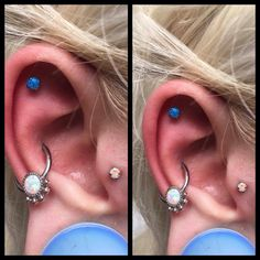 The opal ear!  4mm prong-set blue opal in outer conch and 3mm prong-set white opal in tragus. All done by me ❤️