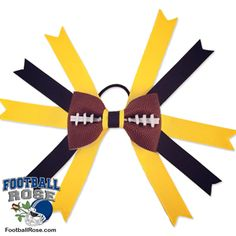 Handmade Football Hair Bow made from real football leather with Black & Gold ribbon accents inspired by Pittsburgh football Football Fever, Football Fans, Football Hair Bows, Pittsburgh Football, Different Font Styles, Team Mom, Elastic Hair Ties, Making Hair Bows, Ribbon Colors