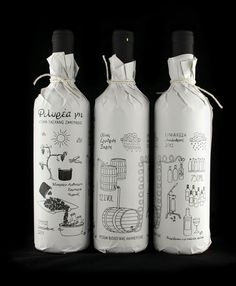Filirea gi packaging by Christos Zafeiriadis l Packaging design for limited production homemade wine. The illustration depicts the process of creating wine from the harvest to the bottling. Printed with silk-screen printing method on paper that is wrapped around the bottle to convey the sense of handmade.