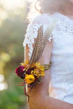 Feather armband boho wedding and fall wedding ideas by The Perfect Petal