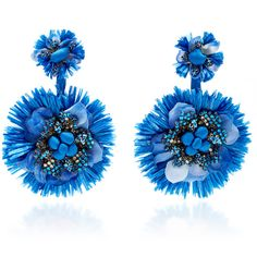Ranjana Khan Blue Drop Flower Fan Earrings ($395) ❤ liked on Polyvore featuring jewelry, earrings, blue, flower jewelry, blue statement earrings, blue earrings, blue jewelry and ranjana khan