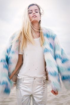 Fantasy Faux Fur Coat, Crystallized Tee, Reflected Leather Jean