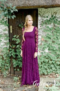 Mary design available in variety of colours and sizes. Long sleeved lace dress. Burgundy , purple.