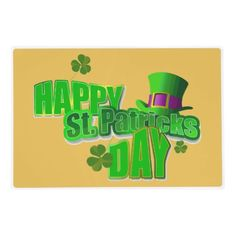 Happy St. Patrick's  Day Placemats Laminated Place Mat; $13.95 - #stanrail -Make breakfast, lunch, and dinner delightful for both you and your little ones! These custom placemats are printed on heavy weight stock and laminated with clear high gloss laminate. Add photos, personalized designs, patterns, and more for a one-of-a-kind placemat that is fun to use and easy to clean.    @stanrails_store