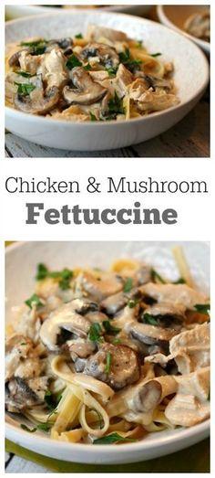 Chicken and Mushroom Fettuccine Recipe - RecipeGirl.com