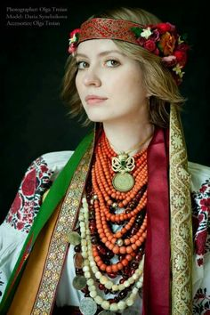 Traditional layered necklaces.