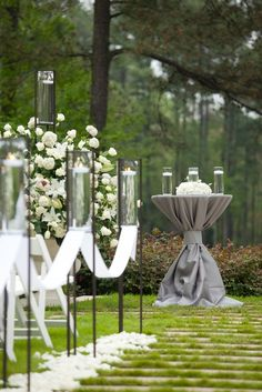 Wedding ● Aisle Decorations #silver & white wedding ... Wedding ideas for brides, grooms, parents & planners ... https://itunes.apple.com/us/app/the-gold-wedding-planner/id498112599?ls=1=8 … plus how to organise an entire wedding ♥ The Gold Wedding Planner iPhone App ♥