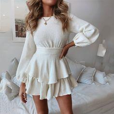 Long Sleeve Sweater Dress, Knit Sweater Dress, Long Sleeve Mini Dress, Dress Long, Short Skater Dress, Skater Dresses, Cute Casual Outfits, Casual Dresses, Elegant Dresses