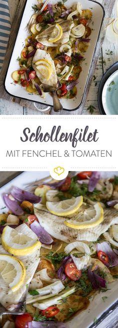 Auf einem Bett aus Kartoffeln, Fenchel und Kirschtomaten wandert dein Schollenfilet in den Ofen und erhält durch Zitrone und Dill wunderbar frische Aromen.