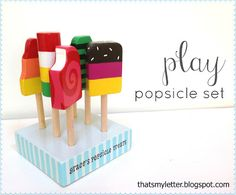 DIY Popsicle set - although I think it would just be easier to buy the pottery barn version. Wood Projects For Kids, Scrap Wood Projects, Sewing Projects, Wooden Play Food, Crayon Holder, Wood Toys, Wooden Diy, Wooden Crafts, Pottery Barn Kids