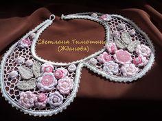 Irish crochet. Irská krajka. Модели в технике ирландского кружева. Нежные пастельные оттенки розового, бежевого. Pastel colors of pink, beige and green. Collar.