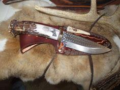 """Hunting Knife Ken Richardson CUSTOM MADE  CROWN HORN  5 1/2"""" Drop Blade #KENRICHARDSON #FixedBlade"""