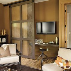 sliding barn door, and love the wall color
