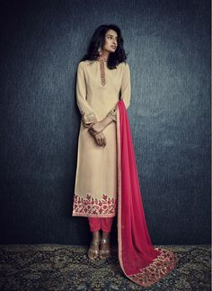 Cream and Hot Pink Faux Georgette Embroidered Trendy Churidar Salwar Suit