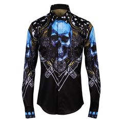 Blue Skull Gothic style men shirt 2017 Autumn Europe Stylish Slim fit Long  sleeve Casual shirts Men Brand Tops Plus size