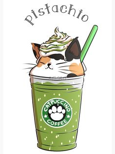 Cuaderno de espiral «Pistacho CATpuccino» de amcart | Redbubble Cute Food Drawings, Cute Animal Drawings Kawaii, Cute Drawings Of Animals, Art Drawings, Image Chat, Cute Cat Drawing, Cat Drinking, Kawaii Cat, Cute Doodles
